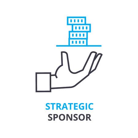 strategisch sponsorconcept, overzichtspictogram, lineair teken, dun lijnpictogram, embleem, vlakke vector, illustratie