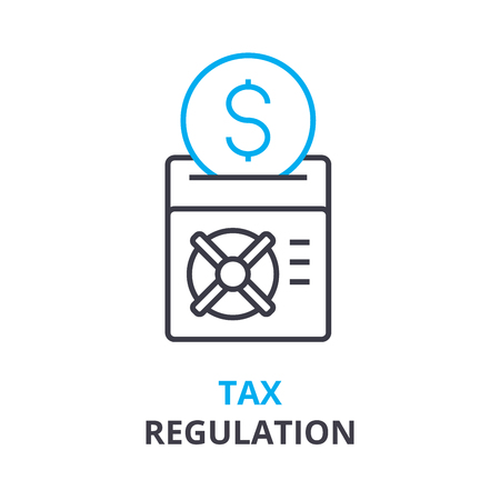 tax regulation concept, outline icon, linear sign, thin line pictogram, logo, flat vector, illustration