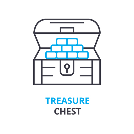 treasure chest concept, outline icon, linear sign, thin line pictogram, logo, flat vector, illustration