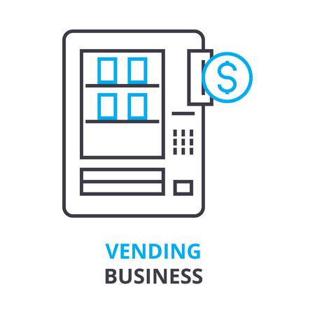 vending bedrijfsconcept, overzichtspictogram, lineair teken, dun lijnpictogram, embleem, vlakke vector, illustratie