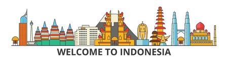 インドネシアの概要スカイライン、インドネシアのフラット細い線アイコン、ランドマーク、イラスト。インドネシア都市の景観、インドネシア語