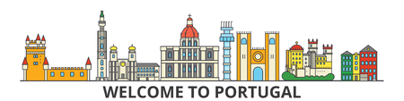 Portugal outline skyline, Portuguese flat thin line icons, landmarks, illustrations. Portugal cityscape, Portuguese vector travel city banner. Urban silhouette Фото со стока