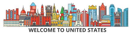 미국 개요 스카이 라인, 미국의 평면 얇은 라인 아이콘, 랜드 마크, 그림. 미국 풍경, 미국 벡터 여행 도시 배너입니다. 도시의 실루엣 스톡 콘텐츠