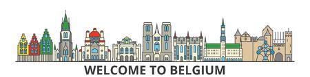 De overzichtshorizon van België, Belgische vlakke dunne lijnpictogrammen, oriëntatiepunten, illustraties. Cityscape van België, de Belgische vectorbanner van de reisstad. Stedelijk silhouet