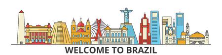 Brazil outline skyline, brazilian flat thin line icons, landmarks, illustrations. Brazil cityscape, brazilian vector travel city banner. Urban silhouette