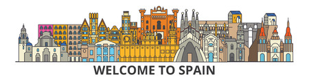 스페인 개요 스카이 라인, 스페인어 플랫 얇은 라인 아이콘, 랜드 마크, 삽화. 스페인 풍경, 스페인어 벡터 여행 도시 배너입니다. 도시의 실루엣