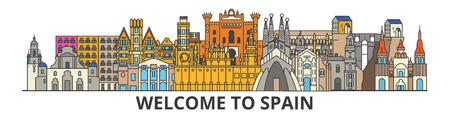 Horizonte de contorno de España, iconos de línea fina plana española, monumentos, ilustraciones. Paisaje urbano de España, bandera española de la ciudad del viaje del vector. Silueta urbana
