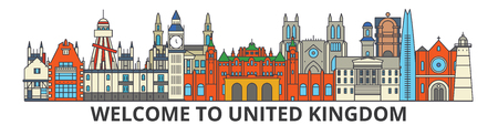 United Kingdom outline skyline, british flat thin line icons, landmarks, illustrations. United Kingdom cityscape, british vector travel city banner. Urban silhouette Banque d'images