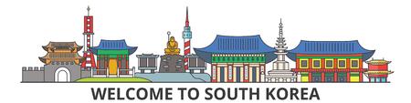 South Korea outline skyline, korean flat thin line icons, landmarks, illustrations. South Korea cityscape, korean vector travel city banner. Urban silhouette Stock Photo