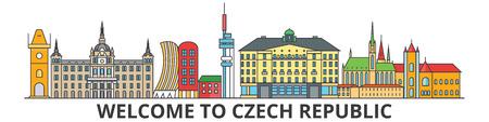 チェコ共和国概要スカイライン、チェコ フラット細い線アイコン、ランドマーク、イラスト。チェコ共和国の都市景観、チェコ ベクトル旅行都市旗