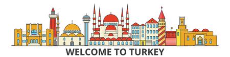 トルコの概要スカイライン、トルコのフラット細い線アイコン、ランドマーク、イラスト。トルコ都市の景観、トルコ ベクトル旅行都市旗。都市シ
