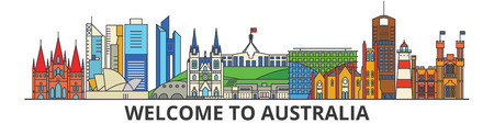 호주 개요 스카이 라인, 호주 플랫 얇은 라인 아이콘, 랜드 마크, 삽화. 호주 풍경, 호주 벡터 도시 배너를 여행. 도시의 실루엣 스톡 콘텐츠