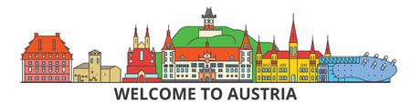 オーストリア概要スカイライン、オーストリアの薄いフラット ライン アイコン、ランドマーク、イラスト。オーストリアの都市景観、オーストリア