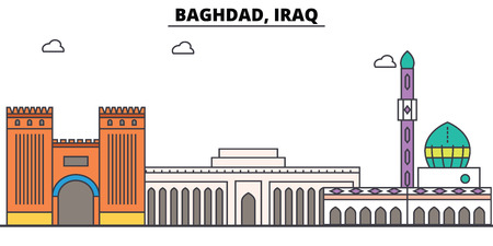 Baghdad, Iraq outline skyline, Arab flat thin line icons, landmarks, illustrations. Illustration
