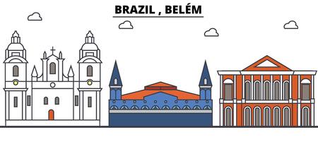 브라질, 벨렘 개요 스카이 라인, 브라질 평면 얇은 라인 아이콘, 랜드 마크, 삽화. 브라질, 벨렘 도시, 브라질 벡터 여행 도시 배너입니다. 도시의 실루