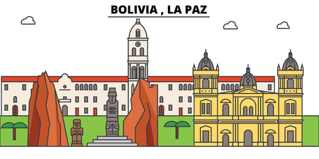 Bolivia , La Paz outline skyline, bolivian flat thin line icons, landmarks, illustrations. Bolivia , La Paz cityscape, bolivian vector travel city banner. Urban silhouette Illustration