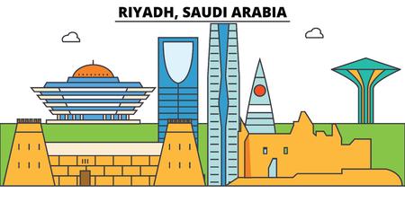Riyadh, Saudi Arabia outline skyline, arab flat thin line icons, landmarks, illustrations. Riyadh, Saudi Arabia cityscape, arab vector travel city banner. Urban silhouette Illustration