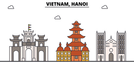 베트남, 하노이 개요 스카이 라인, 베트남어 플랫 얇은 라인 아이콘, 랜드 마크, 삽화. 베트남, 하노이 도시, 베트남 벡터 여행 도시 배너입니다. 도시의 일러스트