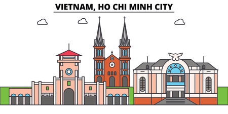 Vietnam, Ho Chi Minh City outline skyline, vietnamese flat thin line icons, landmarks, illustrations. Vietnam, Ho Chi Minh City cityscape, vietnamese vector travel city banner. Urban silhouette Illustration