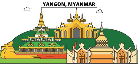 Horizonte del esquema de Yangon, Myanmar, iconos planos finos birmanos, señales, ilustraciones. Yangon, paisaje urbano de Myanmar, bandera birmana del vector de la ciudad del viaje. Silueta urbana Foto de archivo - 89348122