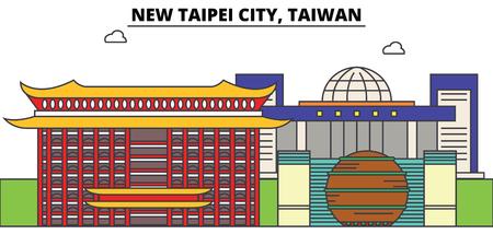 New Taipei City, Taiwan outline skyline, Taiwanese flat thin line icons, landmarks, illustrations. New Taipei City, Taiwan cityscape, Taiwanese vector travel city banner. Urban silhouette