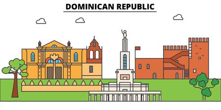 Overzicht van de Dominicaanse Republiek skyline, dominicaanse vlakke dunne lijn pictogrammen, bezienswaardigheden, illustraties. Cityscape van de Dominicaanse Republiek, Dominicaanse vector reizen stad banner. Stedelijk silhouet