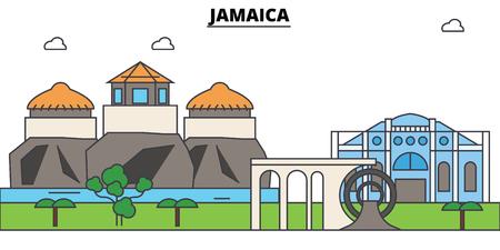 Jamaica outline skyline, jamaician flat thin line icons, landmarks, illustrations. Jamaica cityscape, jamaician vector travel city banner. Urban silhouette Ilustracja