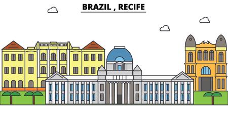 Brazilië, Recife overzichtshorizon, Braziliaanse vlakke dunne lijnpictogrammen, oriëntatiepunten, illustraties. Brazilië, Recife-cityscape, de Braziliaanse vectorbanner van de reisstad. Stedelijk silhouet