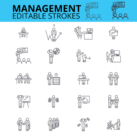 Management ouline vector icons. Editable strokes. Businessman signs set. Business management process logo. Human resources thin line icons. Illustration