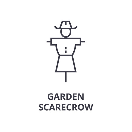 A garden scarecrow line icon, outline symbol flat vector illustration 向量圖像