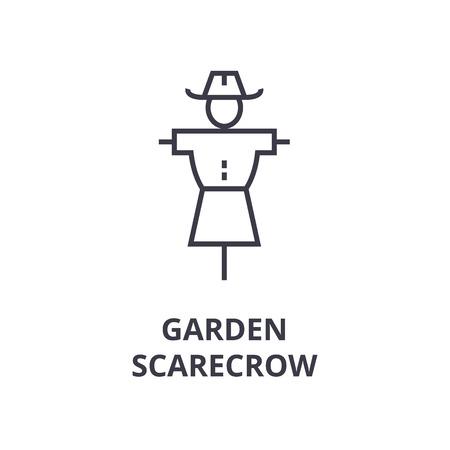 Een tuin vogelverschrikker lijn pictogram, overzicht symbool platte vectorillustratie