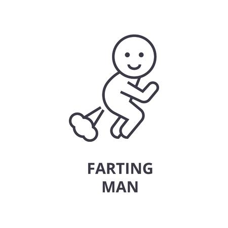 A farting man line icon,  cartoon outline symbol flat vector illustration