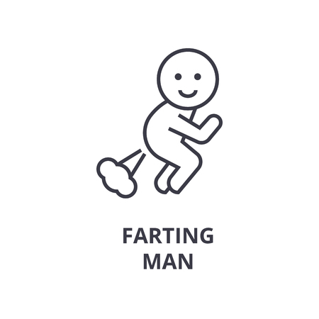 A farting man line icon,  cartoon outline symbol flat vector illustration