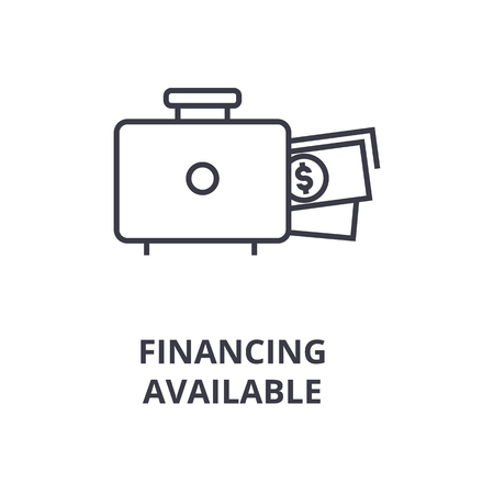 Symbol of financing available line icon,  outline flat vector illustration