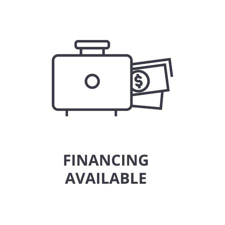 Symbool van de financiering van beschikbare lijn pictogram, overzicht platte vectorillustratie