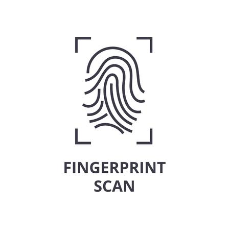 Eine Fingerabdruckscanlinie Ikone, flache Vektorillustration des Entwurfssymbols Standard-Bild - 91733938