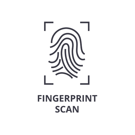 A fingerprint scan line icon,  outline symbol flat vector illustration
