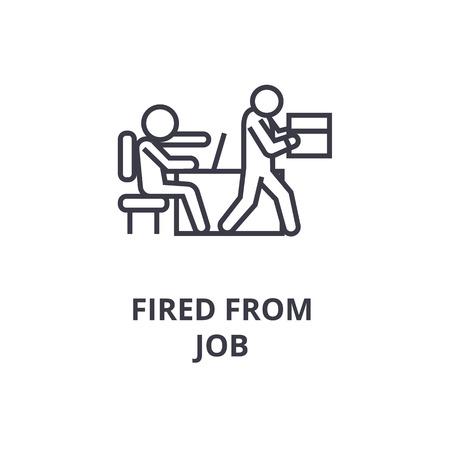 Cartoon schets van ontslagen van baan lijn pictogram, overzichtsteken, lineair symbool, platte vectorillustratie Stock Illustratie