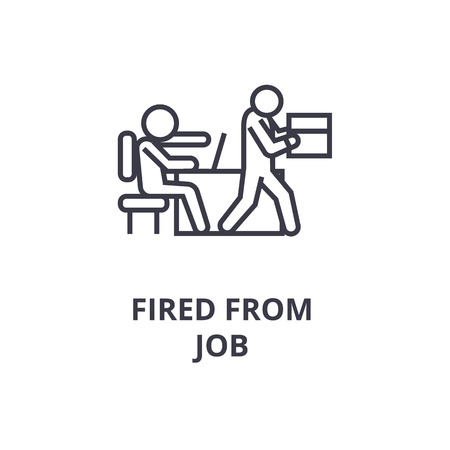 Cartoon sketch of fired from job line icon, outline sign, linear symbol, flat vector illustration