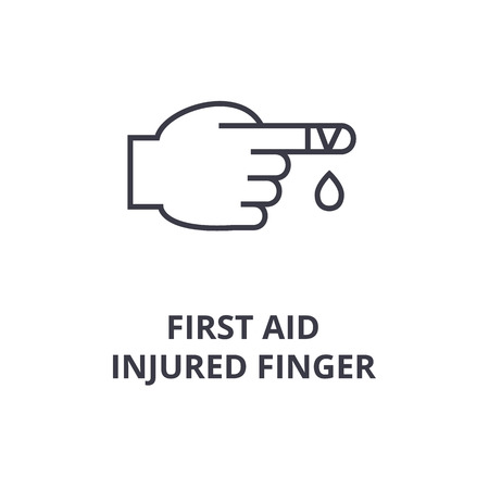Signs of first aid, injured finger line icon,  outline symbol flat vector illustration
