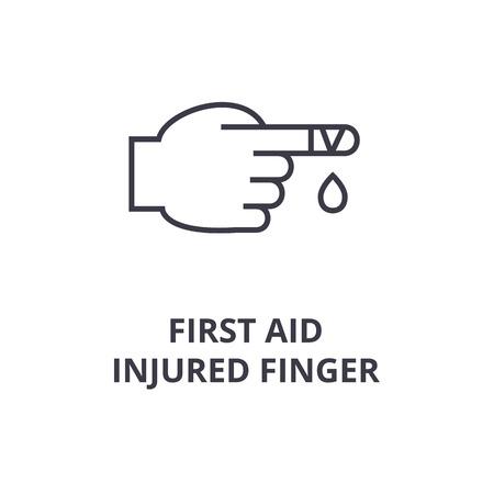 Tekenen van eerste hulp, gewonde vinger lijn pictogram, overzicht symbool platte vectorillustratie Stock Illustratie