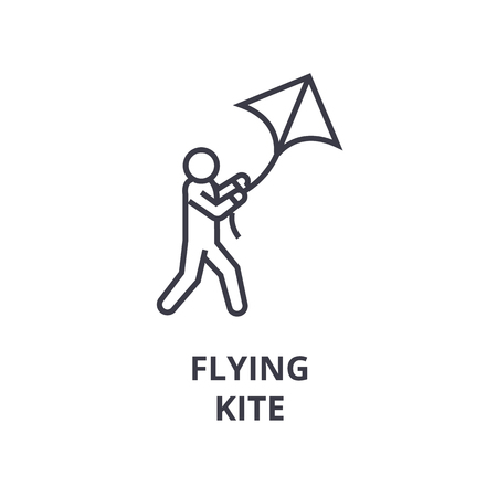 Man flying a kite line icon, outline symbol flat vector illustration Banco de Imagens - 91733940
