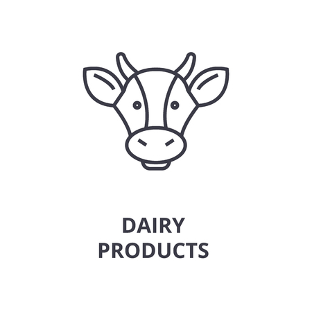 A dairy products, cows head line icon,  outline symbol flat vector illustration