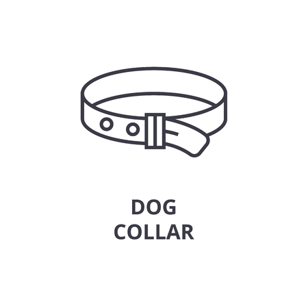 A dog collar line icon, outline sign,  outline symbol flat vector illustration