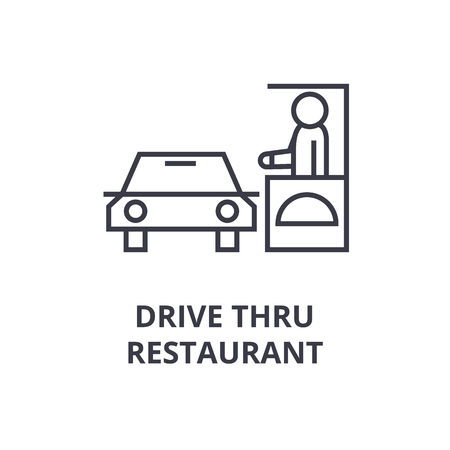 A drive thru restaurant line icon,  outline symbol flat vector illustration
