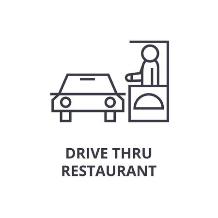 Une icône de ligne de restaurant en passant par le restaurant, contour illustration vectorielle plane symbole Vecteurs