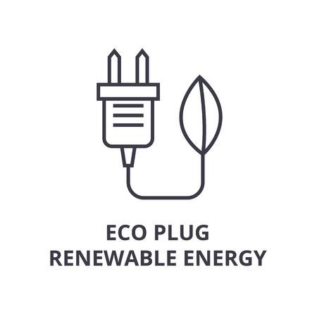 A eco plug, renewable energy line icon,  outline symbol flat vector illustration Standard-Bild - 91733944