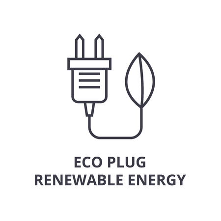 A eco plug, renewable energy line icon,  outline symbol flat vector illustration