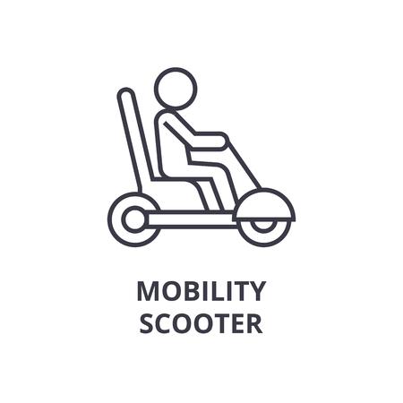 A mobility scooter line icon, outline sign, outline symbol flat vector illustration