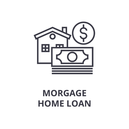 Symbols of mortgage, home loan line icon, outline design flat vector illustration